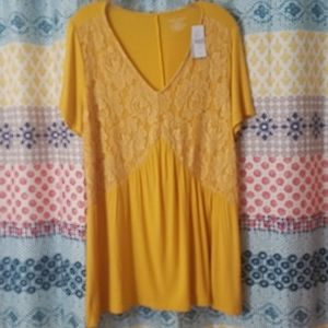 Lane Bryant yellow lace swing tee